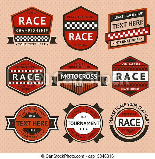 Racing badges set - vintage style - csp13846316