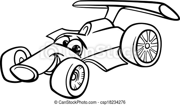Vectors Illustration Of Racing Car Bolide Coloring Page