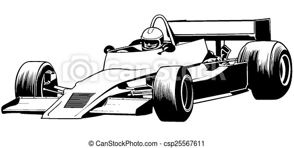 formula one driver and racing car illustration vector rh canstockphoto com Race Car Driver Clip Art Race Car Clip Art Black and White