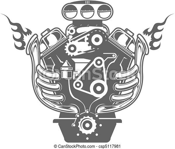 Racing engine. Hand-drawn racing car engine, front view.