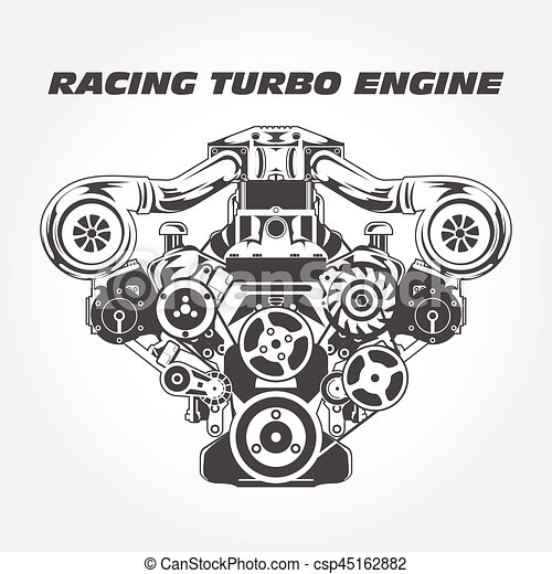 Racing Engine With Supercharger Power Eps Vector Csp on V8 Engine Cartoon Drawing