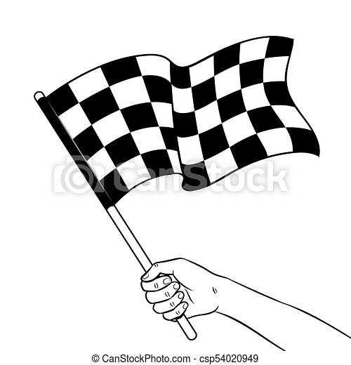Racing Flag In Hand Coloring Book Vector