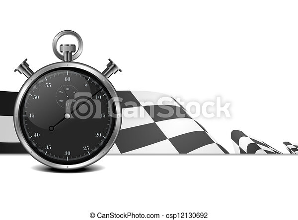 racing flag with stop watch - csp12130692