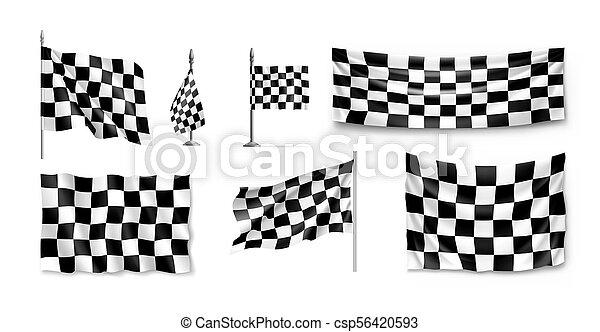 Racing flags set realistic - csp56420593