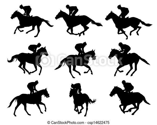 racing horses and jockeys - csp14622475