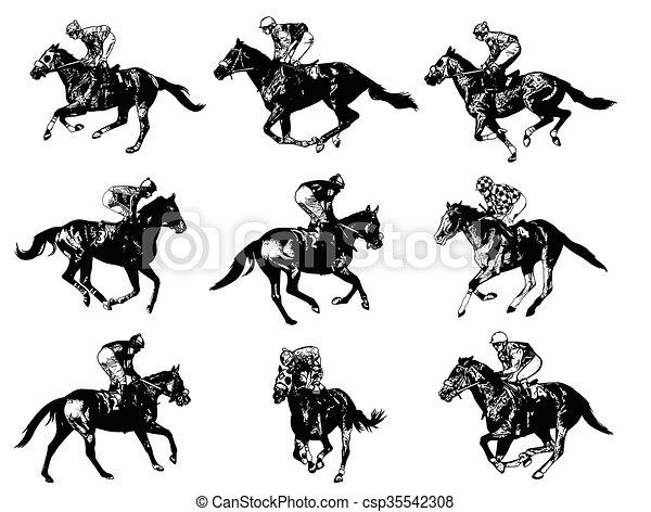 racing horses and jockeys - csp35542308