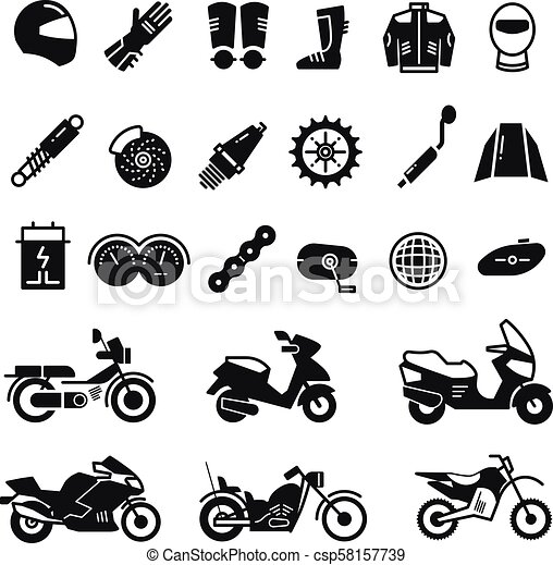 Racing Motorcycle Motorbike Parts And Transportation Vector Icons