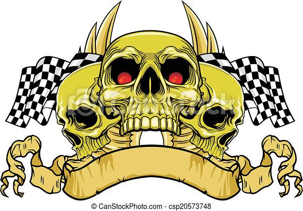 racing skull vector illustration of red eyes skulls with racing