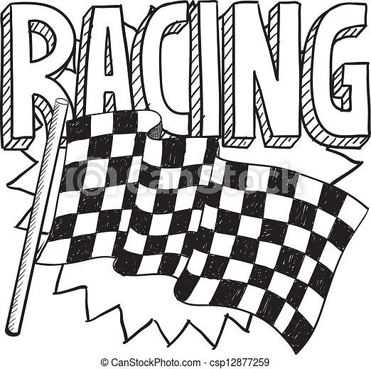 Racing sports sketch - csp12877259