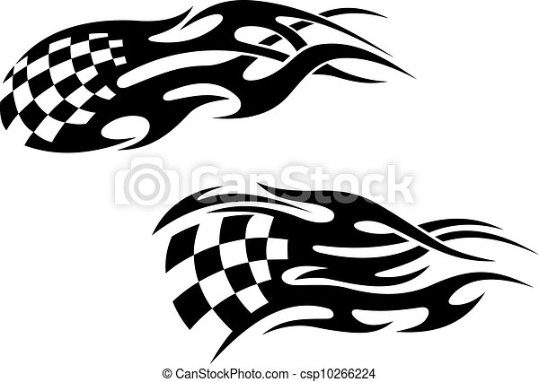 Racing Tattoos Chequered Flag With Black Flames As A