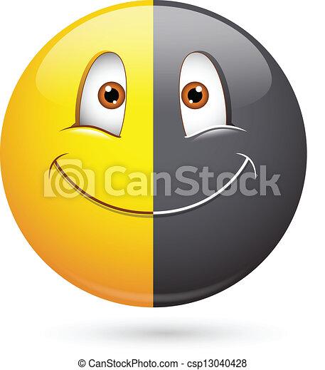 Racism Half Black Smiley Face - csp13040428