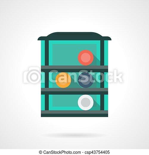 Rack with billiard balls flat color vector icon - csp43754405