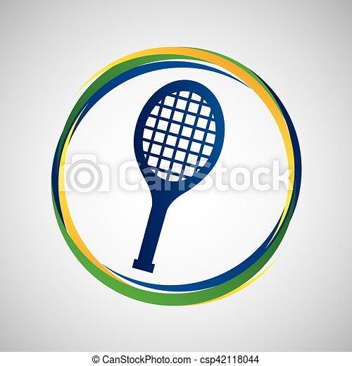 racket tennis sport badge icon - csp42118044