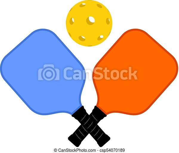creative design of rackets and ball of pickleball vector search rh canstockphoto com pickleball clip art free pickleball clipart free