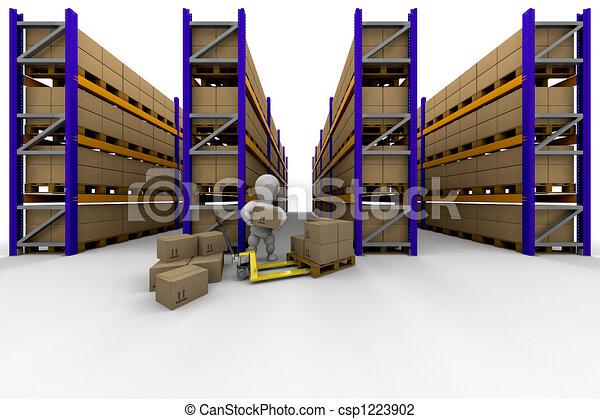 Entiers, personne, empilement, entrepôt, boîtes, racking.