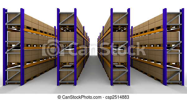 3d Render Of Racking Full Of Boxes Drawings Search