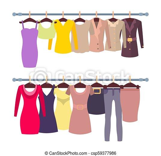 5ec7c47ebc8d Racks with female tops and dresses on hangers. Racks with female ...