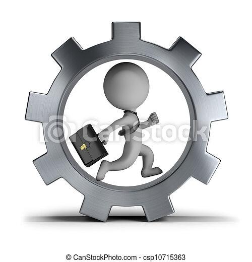 rad, ausrüstung, leute, -, klein, geschäftsmann, 3d - csp10715363