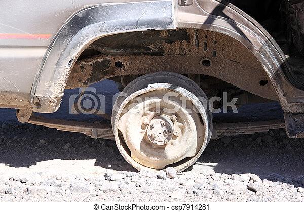 Rad Brocken Rad Staubig Wüste Auto Brocken