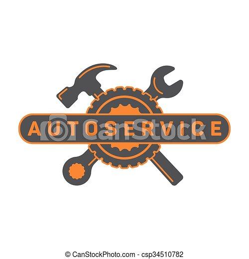 Autoreparatur, Schraubenhammer, Rad-Logo-Schild Wohnung. - csp34510782