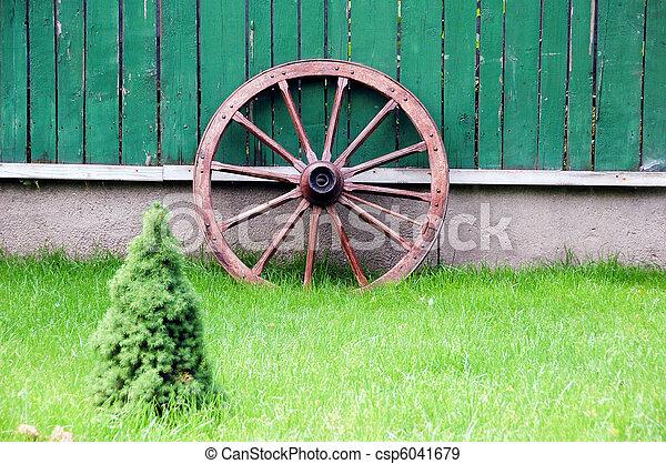 Rad, Fuhrwerk, Zaun   Csp6041679