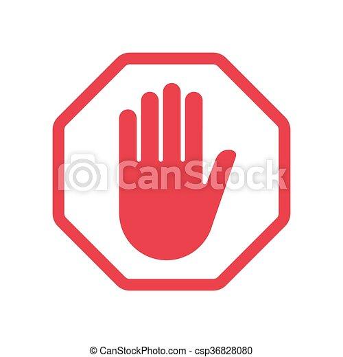 Rad Hand Blocking Sign Stop Ctor Illustration Eps 10 Vector