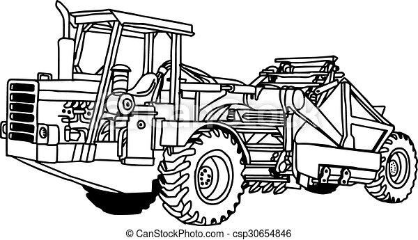 Veranschaulichung Vektor-Doodles Hand gezeichnet von Rad-Traktoren Scraper isoliert. - csp30654846