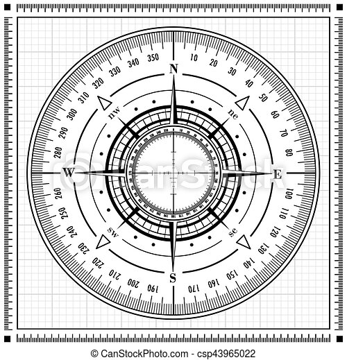 radar, rose compas - csp43965022