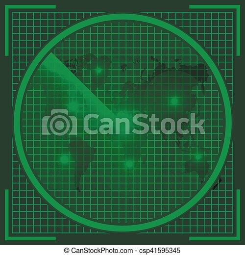 radar screen alien map - csp41595345