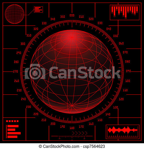 Radar screen. Digital globe with scale. - csp7564623