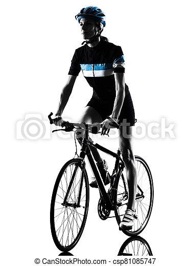 radfahren, reiten, radfahrer, fahrrad, freigestellt, frau, silhouette - csp81085747