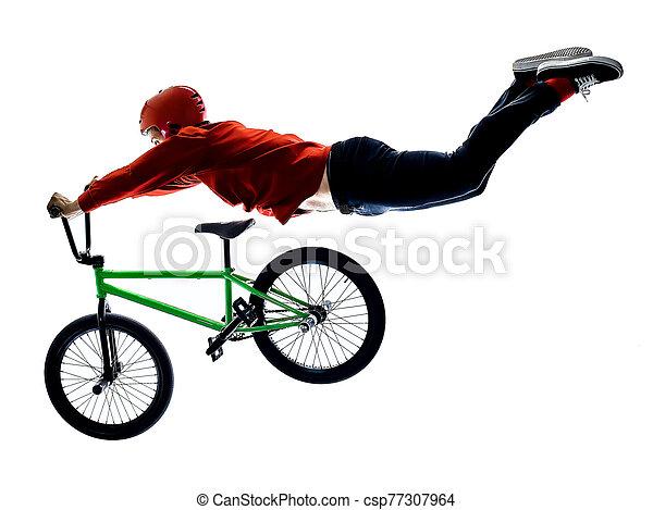 radfahrer, hintergrund, bmx, freigestellt, weißes, freistil, akrobatisch, radfahren, reiter, kunststück - csp77307964
