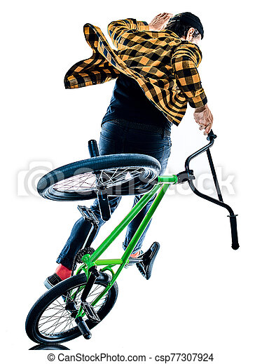 radfahrer, hintergrund, bmx, freigestellt, weißes, freistil, akrobatisch, radfahren, reiter, kunststück - csp77307924