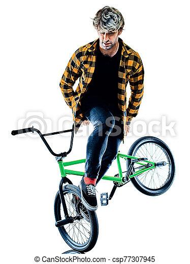 radfahrer, hintergrund, bmx, freigestellt, weißes, freistil, akrobatisch, radfahren, reiter, kunststück - csp77307945