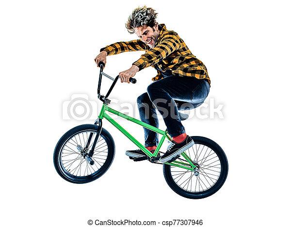 radfahrer, hintergrund, bmx, freigestellt, weißes, freistil, akrobatisch, radfahren, reiter, kunststück - csp77307946