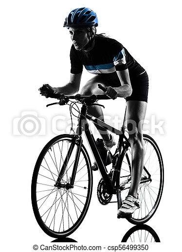 radfahrer, woman, kreist, freigestellt, fahrenden fahrrad, silhouette - csp56499350