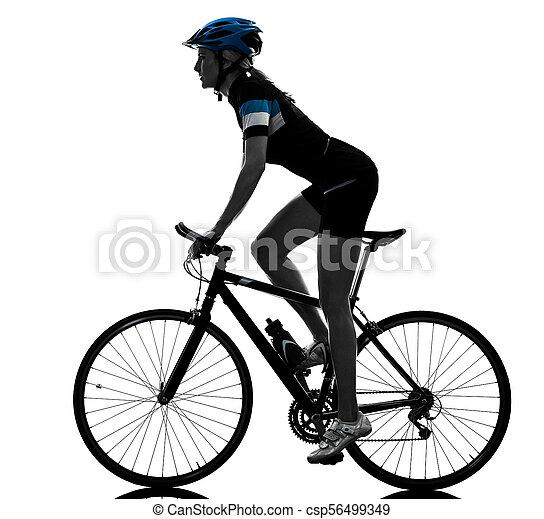 radfahrer, woman, kreist, freigestellt, fahrenden fahrrad, silhouette - csp56499349
