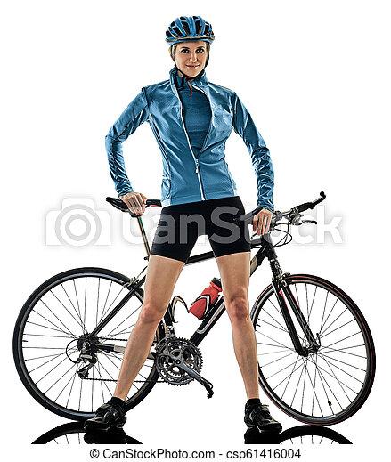 radfahrer, woman, kreist, freigestellt, s, hintergrund, fahrenden fahrrad, weißes - csp61416004