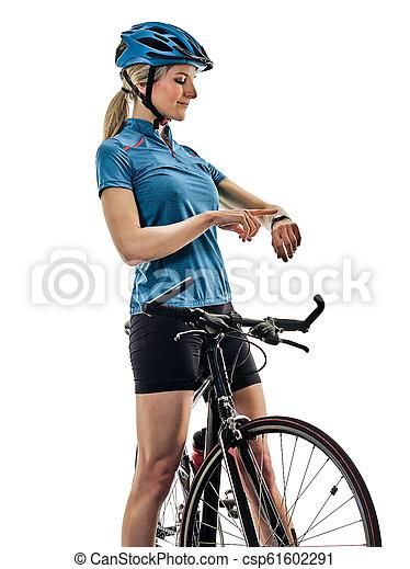 radfahrer, woman, kreist, freigestellt, t, hintergrund, fahrenden fahrrad, weißes - csp61602291