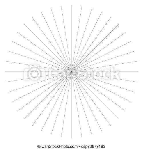 Radial burst lines circular element. Starburst, sunburst graphics. Concentric rays, beams. Sparkle, gleam, twinkle trail lines. Flare, explosion, fireworks radiance effect. Flash, glare design - csp73679193