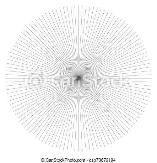 Radial burst lines circular element. Starburst, sunburst graphics. Concentric rays, beams. Sparkle, gleam, twinkle trail lines. Flare, explosion, fireworks radiance effect. Flash, glare design - csp73679194