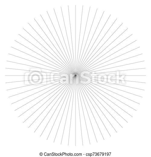 Radial burst lines circular element. Starburst, sunburst graphics. Concentric rays, beams. Sparkle, gleam, twinkle trail lines. Flare, explosion, fireworks radiance effect. Flash, glare design - csp73679197