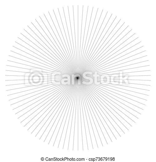 Radial burst lines circular element. Starburst, sunburst graphics. Concentric rays, beams. Sparkle, gleam, twinkle trail lines. Flare, explosion, fireworks radiance effect. Flash, glare design - csp73679198