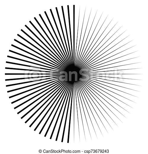 Radial burst lines circular element. Starburst, sunburst graphics. Concentric rays, beams. Sparkle, gleam, twinkle trail lines. Flare, explosion, fireworks radiance effect. Flash, glare design - csp73679243