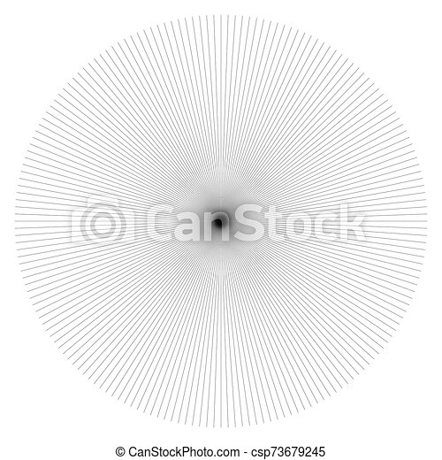 Radial burst lines circular element. Starburst, sunburst graphics. Concentric rays, beams. Sparkle, gleam, twinkle trail lines. Flare, explosion, fireworks radiance effect. Flash, glare design - csp73679245