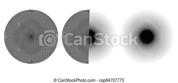 Radial burst lines circular element or background. Starburst or sunburst graphics as icon or logo. - csp84707773