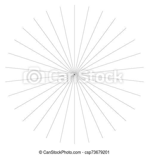 Radial burst lines circular element. Starburst, sunburst graphics. Concentric rays, beams. Sparkle, gleam, twinkle trail lines. Flare, explosion, fireworks radiance effect. Flash, glare design - csp73679201