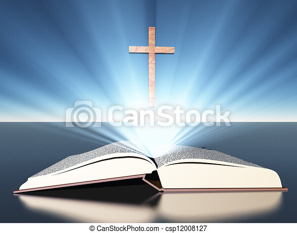 radiates, 聖書, 交差点, 下に, ライト - csp12008127