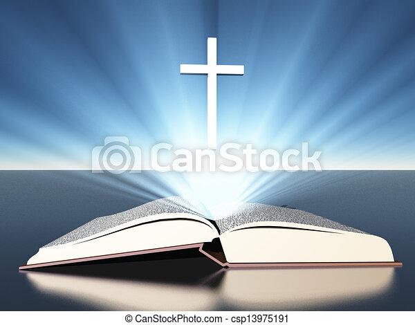 Das Licht leuchtet aus der Bibel unter dem Kreuz - csp13975191