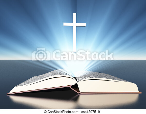 radiates, bible, croix, sous, lumière - csp13975191